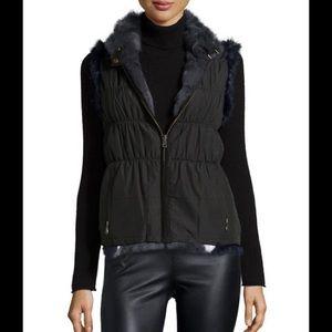 Jocelyn grey black reversible rabbit fur vest med